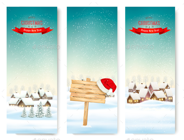 Holiday Christmas Banners with Villages and Wooden Sign - Christmas Seasons/Holidays