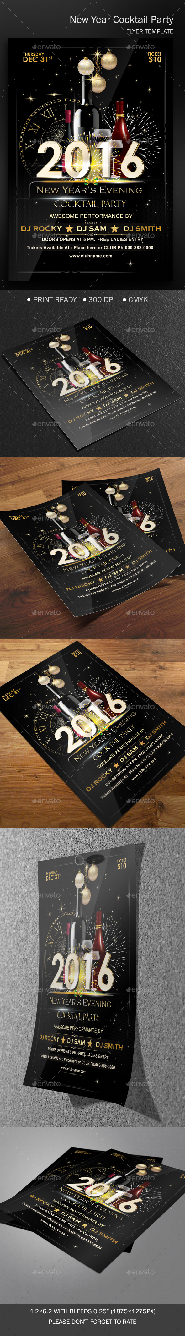 New Year's Cocktail Party Template - Clubs & Parties Events