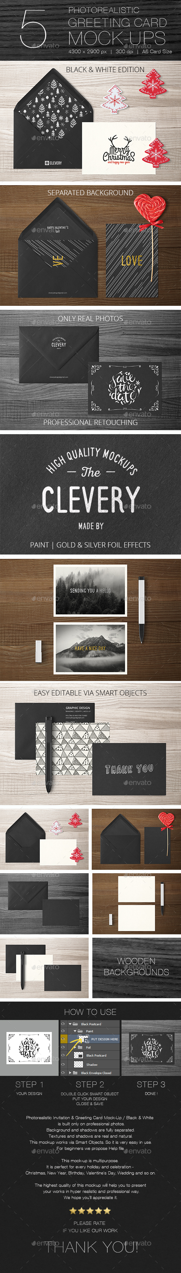 Photorealistic Invitation & Greeting Card Mock-Up / Black & White Edition - Miscellaneous Print