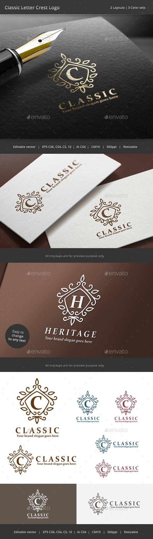Classic Letter Crest Logo - Crests Logo Templates