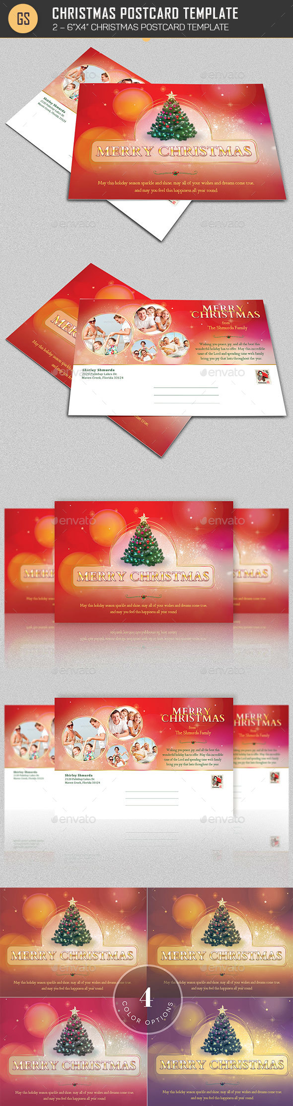 Christmas Postcard Template - Holiday Greeting Cards