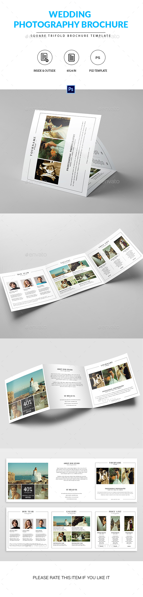 Square Trifold Brochure for Wedding Photographer - Portfolio Brochures