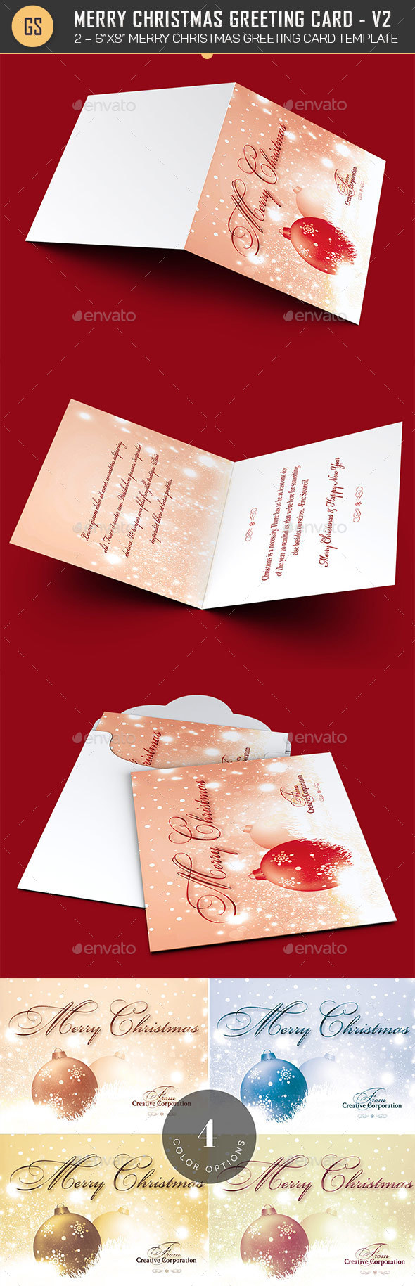 Merry Christmas Greeting Card Template V2 - Holiday Greeting Cards