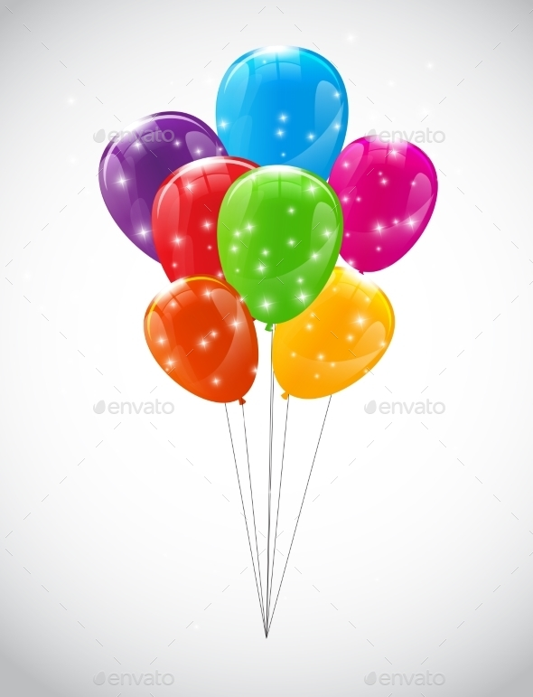 Color Glossy Balloons Background Vector - Objects Vectors