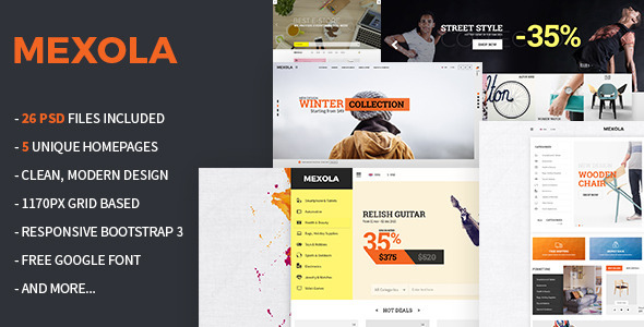 Mexola – Multipurpose eCommerce PSD Template