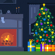 Flat Christmas Fireplace Room Loop - VideoHive Item for Sale