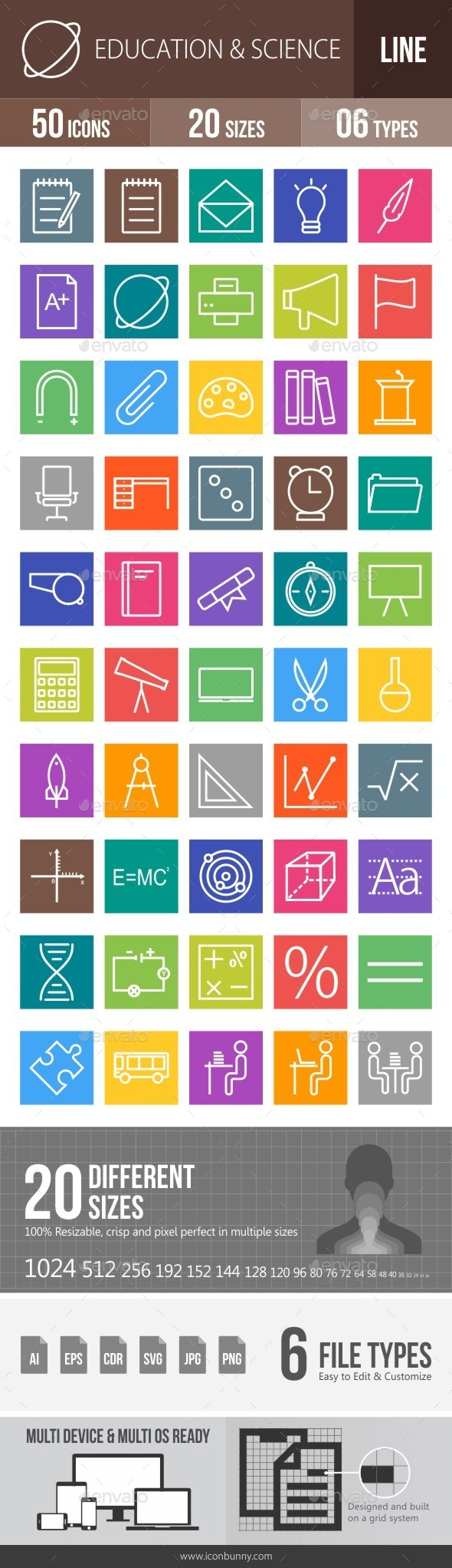 Education & Science Line Multicolor Icons - Icons