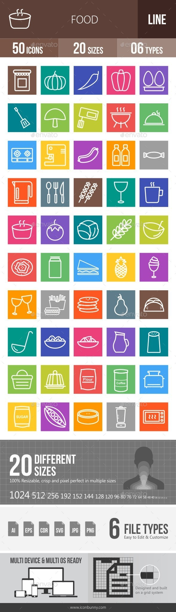 Food Line Multicolor Icons - Icons
