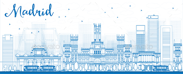 Outline Madrid Skyline with Blue Buildings - Buildings Objects