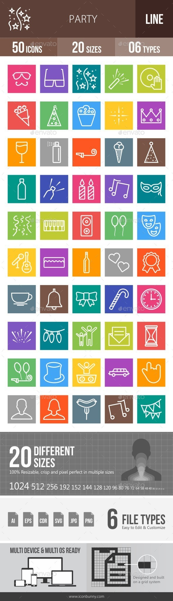 Party Line Multicolor Icons - Icons