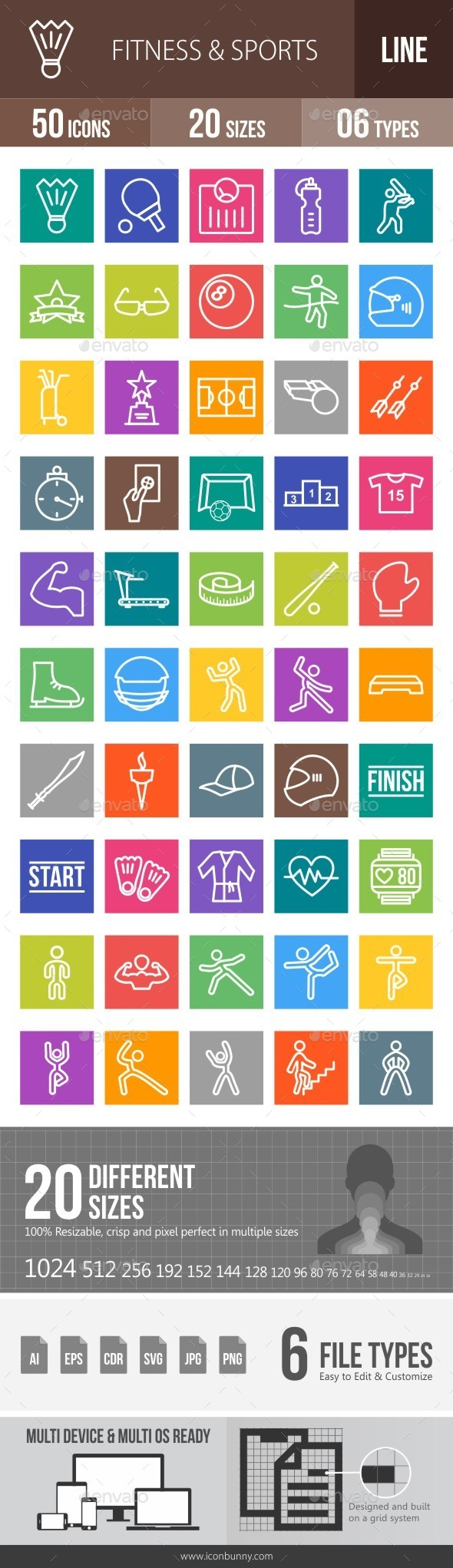 Fitness & Sports Line Multicolor Icons - Icons