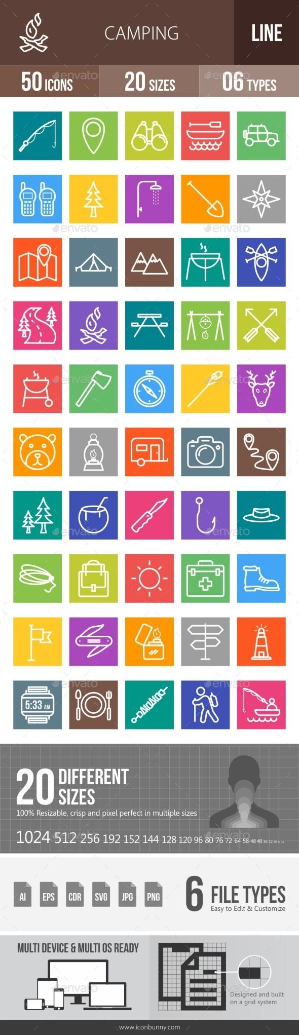 Camping Line Multicolor Icons - Icons