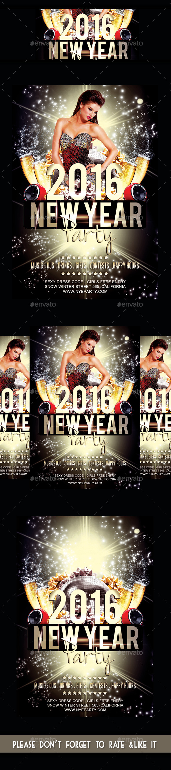 New Year 2016 Party Flyer - Flyers Print Templates