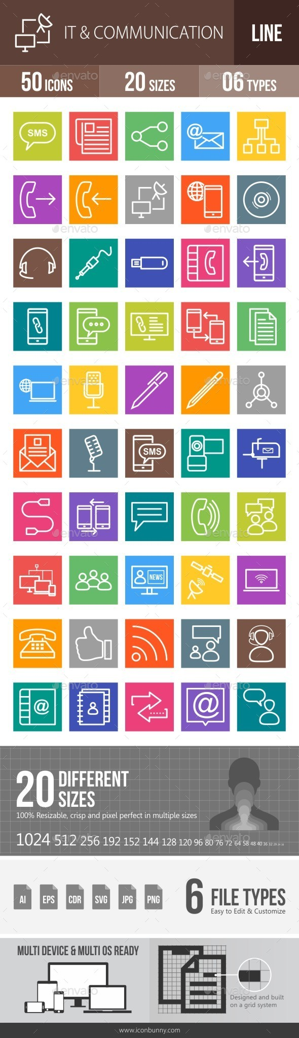 IT & Communication Line Multicolor Icons - Icons