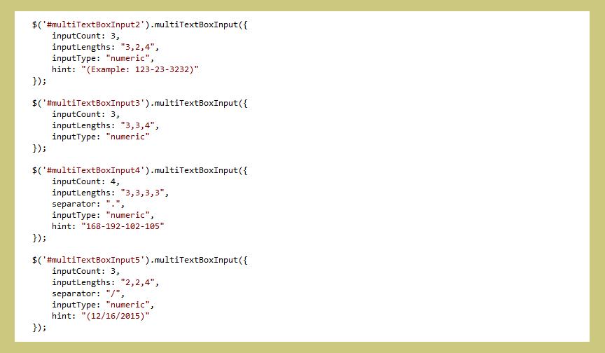 Multi Text Box Input - jQuery Plugin