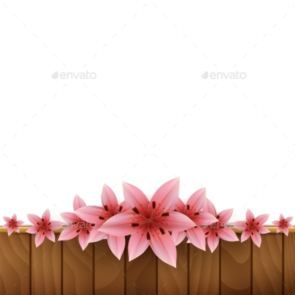 Frame Of Lilies On a Wooden Background - Flowers & Plants Nature