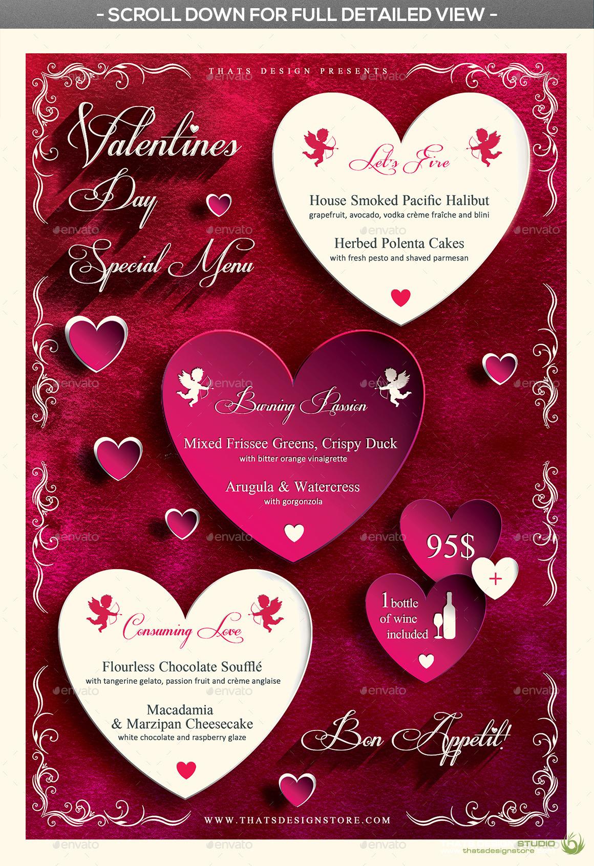 valentines day flyer menu bundle v1 by lou606 graphicriver. Black Bedroom Furniture Sets. Home Design Ideas
