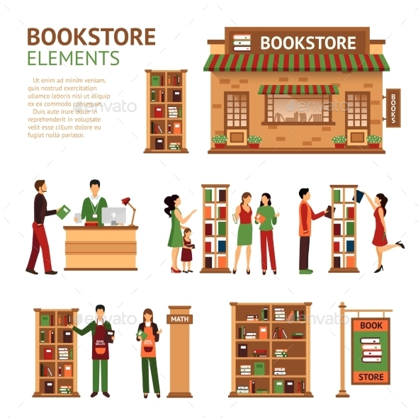 Flat Bookstore Elements Images Set - Commercial / Shopping Conceptual