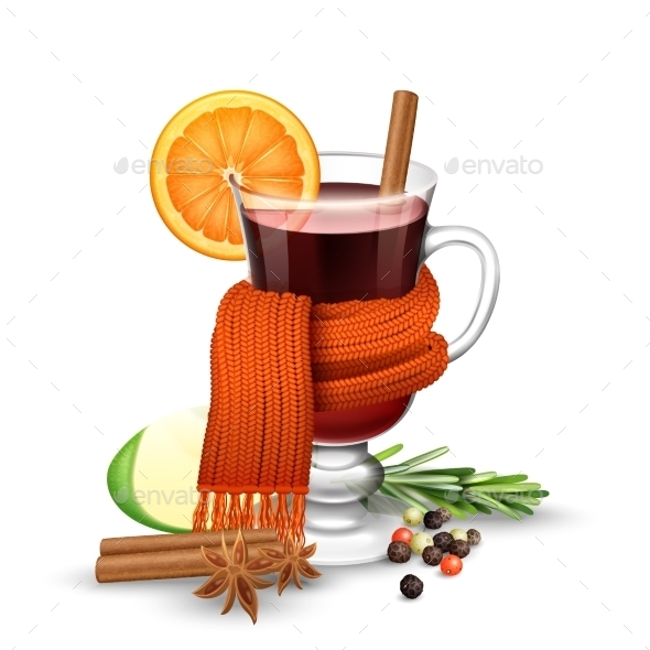 Mulled Wine And Scarf - Food Objects