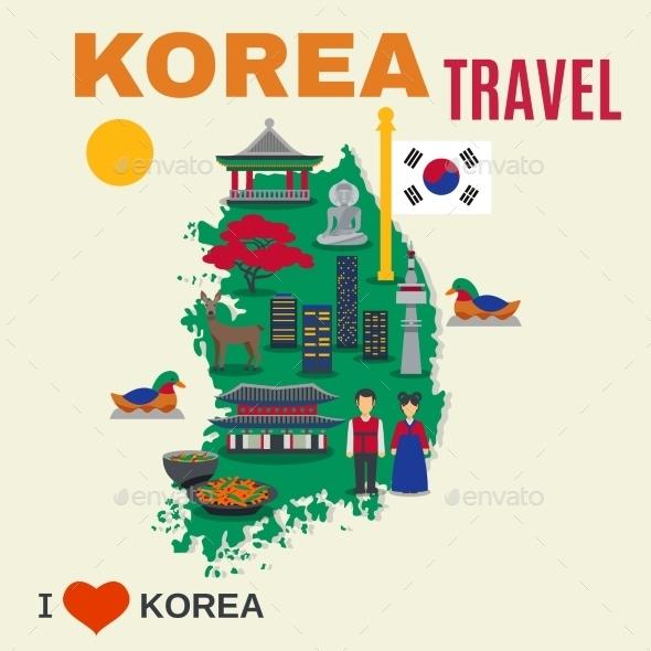Korean Culture Symbols Map Travel Poster - Travel Conceptual