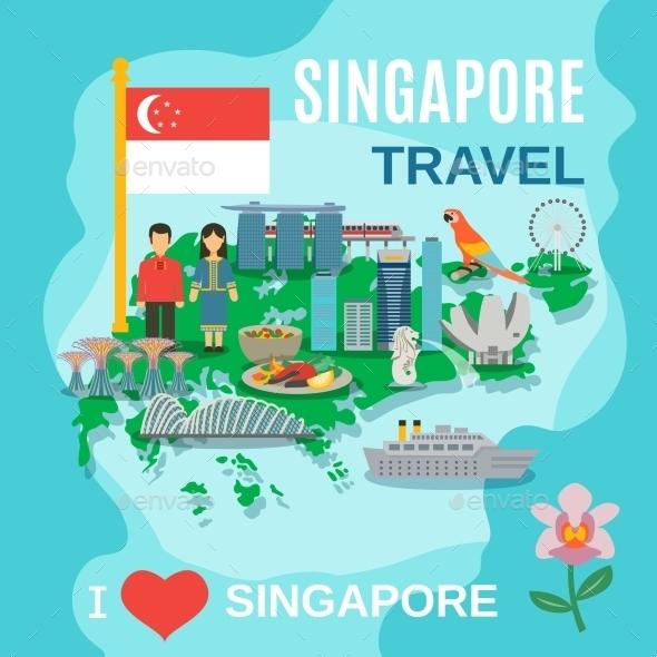 Singapore Travel National Symbols Poster - Travel Conceptual