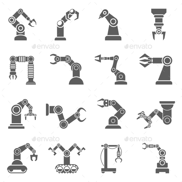 Robotic Arm Black Icons Set - Abstract Icons