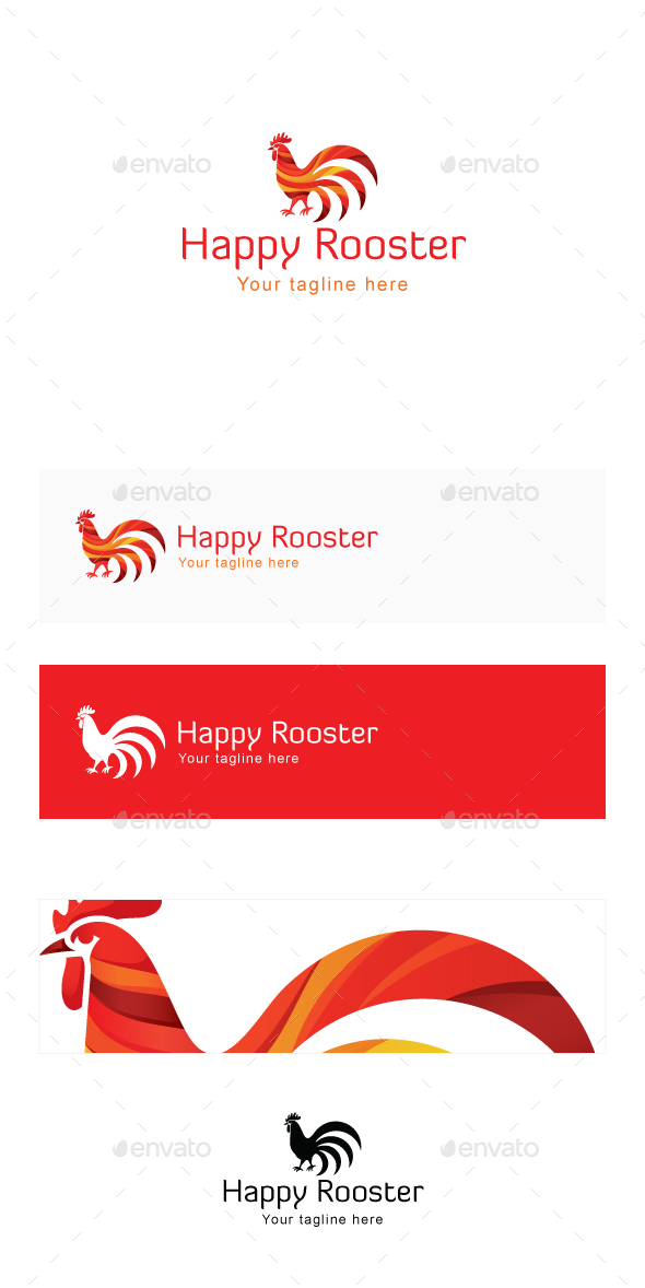 Happy Rooster Stock Logo Template - Food Logo Templates