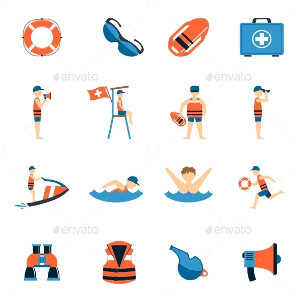 Lifeguard Icons Set - People Characters