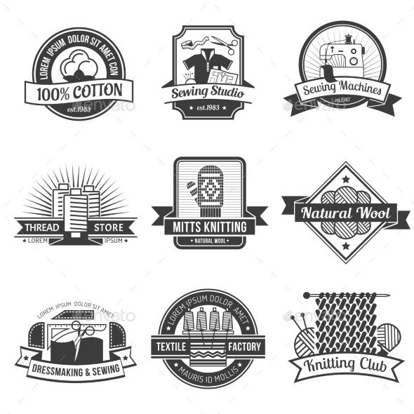 Textile Emblem Set - Decorative Symbols Decorative