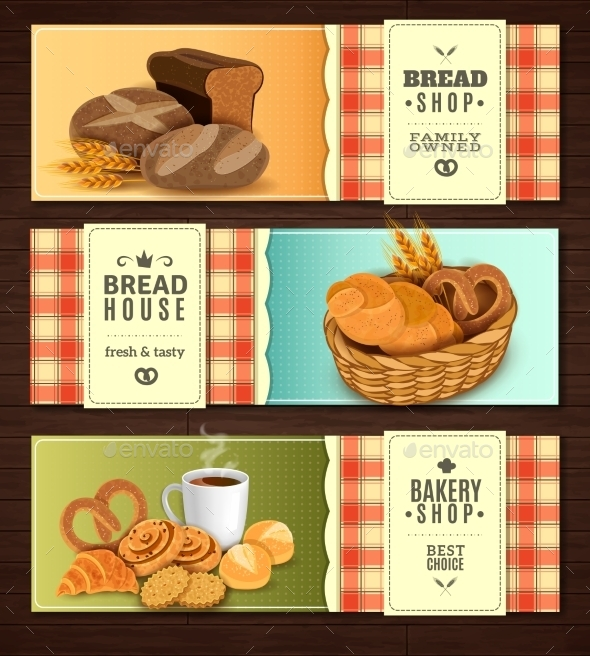 Bread House Horizontal Banners Set - Food Objects