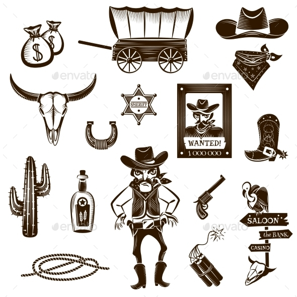 Cowboy Black White Icons Set  - People Characters