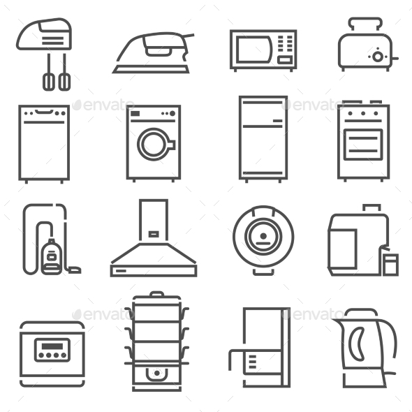 House Appliances Black White Icons Set  - Man-made objects Objects