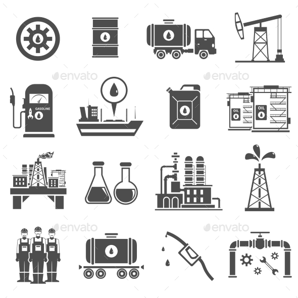 Oil Black White Icons Set  - Business Icons