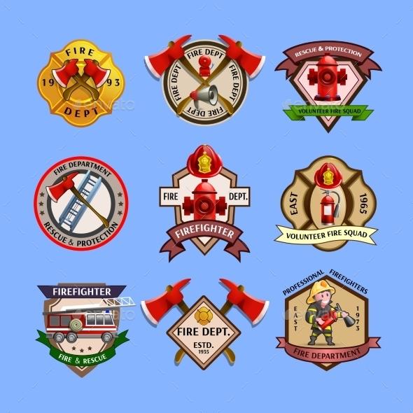 Firefighters Emblems Labels Collection  - Decorative Symbols Decorative