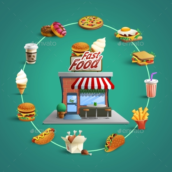 Fastfood Restaurant Pictograms Circle Composition - Food Objects
