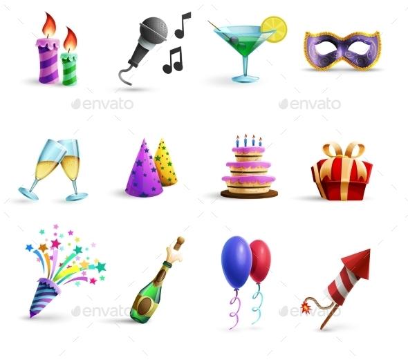 Celebration Colorful Cartoon Style  Icons Set - Objects Icons