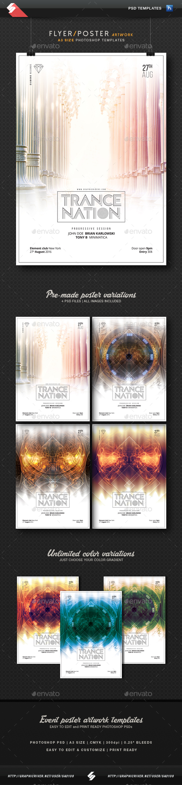 Trance Nation - Party Flyer Templates A3 - Clubs & Parties Events