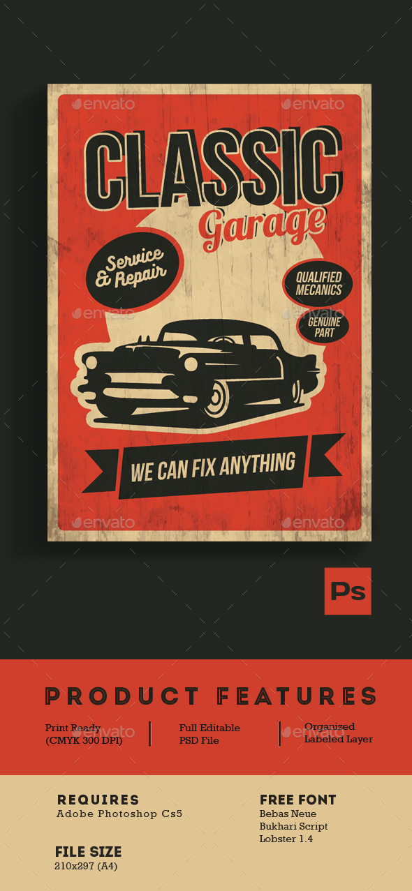 Classic Garage Service & Repair - Flyers Print Templates