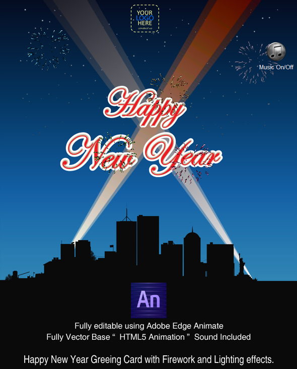 Happy new year with fireworks greeting card created in adobe happy new year with fireworks greeting card created in adobe edge animate codecanyon m4hsunfo
