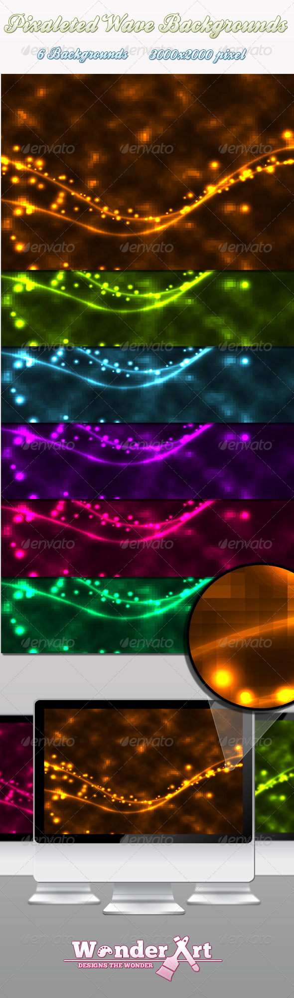 Pixaleted Glowing Background Pack - Abstract Backgrounds
