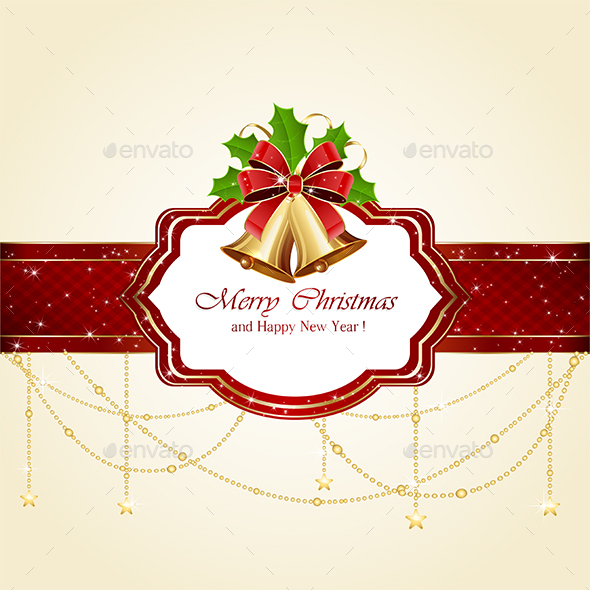 Christmas Card with Bells and Bow - Christmas Seasons/Holidays