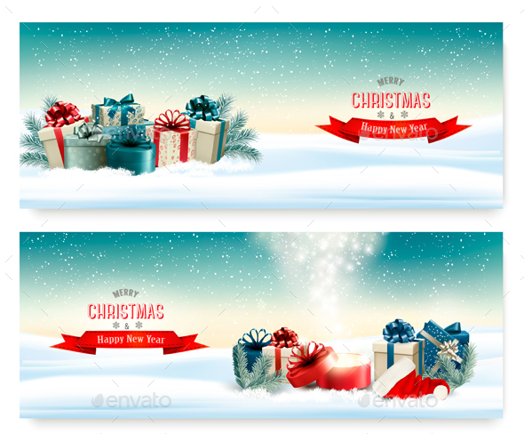 Holiday Christmas Banners with Presents - New Year Seasons/Holidays