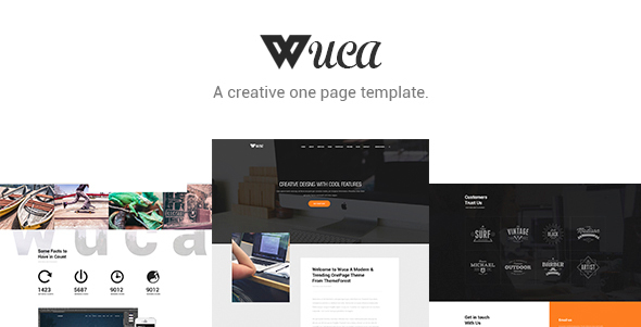 Wuca – One Page PSD Template