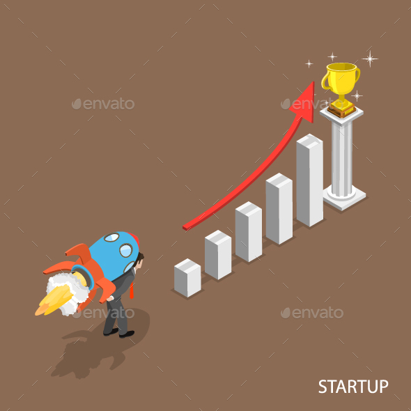 Startup Isometric Flat Concept - Concepts Business