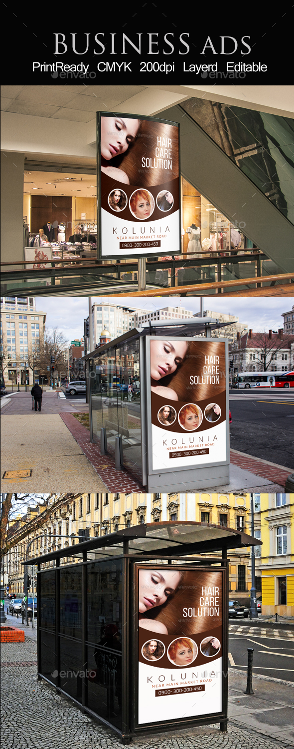 Hair Care Solution Outdoor Ad Template - Packaging Print Templates