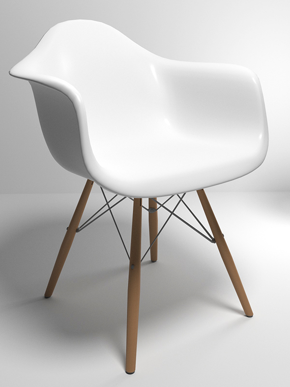 Eames Style Molded Plastic Chair - 3DOcean Item for Sale