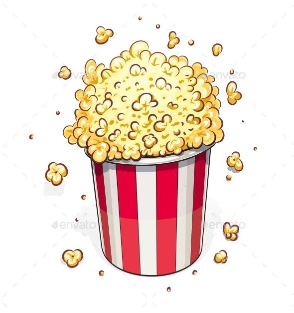 Popcorn in Striped Basket - Food Objects