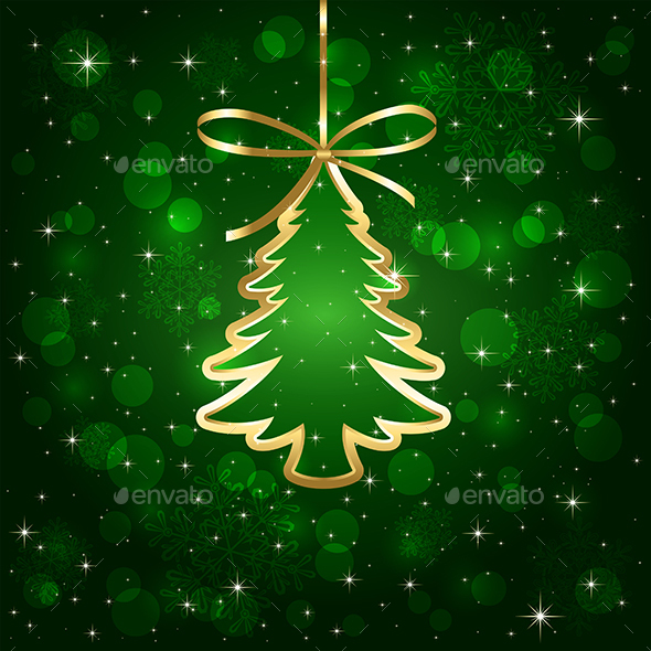 Green Background with Christmas Tree - Christmas Seasons/Holidays