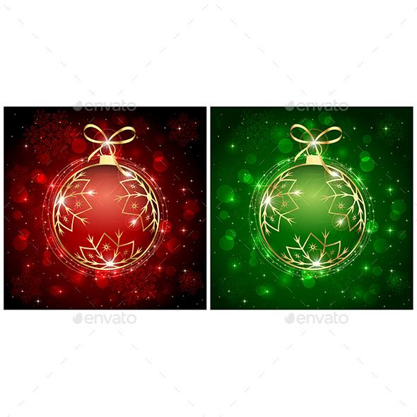 Red and Green Christmas Balls - Christmas Seasons/Holidays