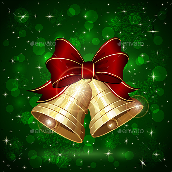 Christmas Bells on Green Background - Christmas Seasons/Holidays